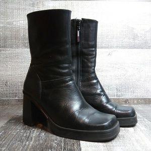TOMMY HILFIGER Block Heel Leather Booties Sz 6